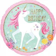 Folie Ballon Happy Birthday Eenhoorn