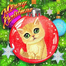 Craft Buddy Crystal Art Kaart Merry Christmas Kat 18x18 cm