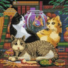 Crystal Art Diamond Painting Katten met Viskom 30x30 cm
