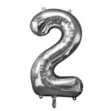 Folie Ballon Nummer 2 50x88 cm Zilver