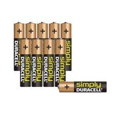 Duracell Simply Alkaline AAA Batterijen 10 Stuks Zwart/Bruin