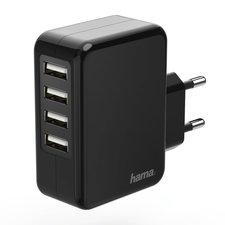 Hama Oplader 4x USB 4,8 A Zwart