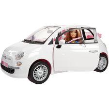 Barbie Fiat 500 Auto + Barbie-Pop Wit