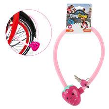 BicyCool Aardbeien-Fietsslot + 2 Sleutels Roze