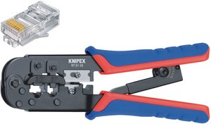 Knipex 97 51 10 SB Crimp Lever Pliers For Western Plugs Western Connector Rj11/12 (6-pin) 9.65 Mm; Rj45 (8-pin)11.68 Mm