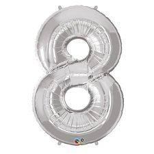 Folie Ballon Nummer 8 53x83 cm Zilver