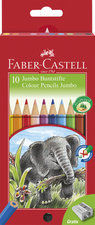Faber Castell 10 Jumbo Kleurpotloden + Slijper Doos 3 Stuks