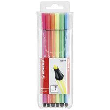 Stabilo Viltstiften Pen 68 Fluor Kleuren 6 Stuks