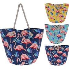 Flamingo Strandtas 52x31x36 cm Polyester/Katoen Assorti