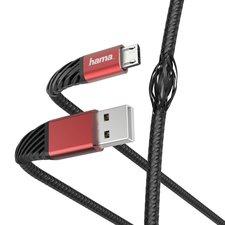 Hama Oplaad-/gegevenskabel Extreme USB-A - Micro-USB 1,5 M Zwart/rood