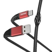 Hama Oplaad-/gegevenskabel Extreme USB-A - USB-C 1,5 M Zwart/rood