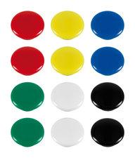 Westcott AC-E10834 Magneet Assorti Kleurpak à 12st. Ø 20x8mm. Assorti Kleuren. Cap: 4-6 A4 A 80gram