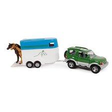 2-Play Traffic Die-Cast Mitsibushi Jeep met Paardentrailer + 2 Paarden