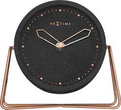 NeXtime NE-5204ZW Tafelklok 17.5x15.5x5 Cm, Polyresin, Zwart