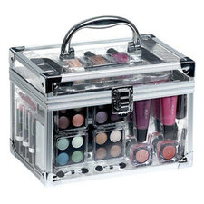 Casuelle Doorzichtige Make-Up Koffer Met Inhoud