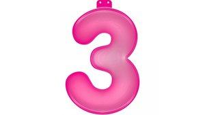 Opblaasbaar Cijfer 3 Roze 35cm