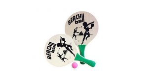 Summertime Houten Beach Ball Set met 2 Bats en 1 Bal Assorti
