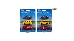 2-Play Traffic Reddingsauto's Set/Politie/Brandweer/Ambulance Assorti