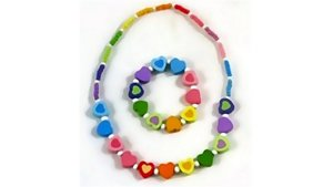 Simply for Kids Houten Kralenketting + Armbandje Hartjes