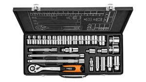 Neo Tools Doppenset 28 Delig 1/2 Aansluiting CrV Staal METALEN KOFFER Exclusive Line TUV M+T