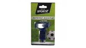 SportX Kunststoffen Scheidsrechterfluitje met Koord Blauw